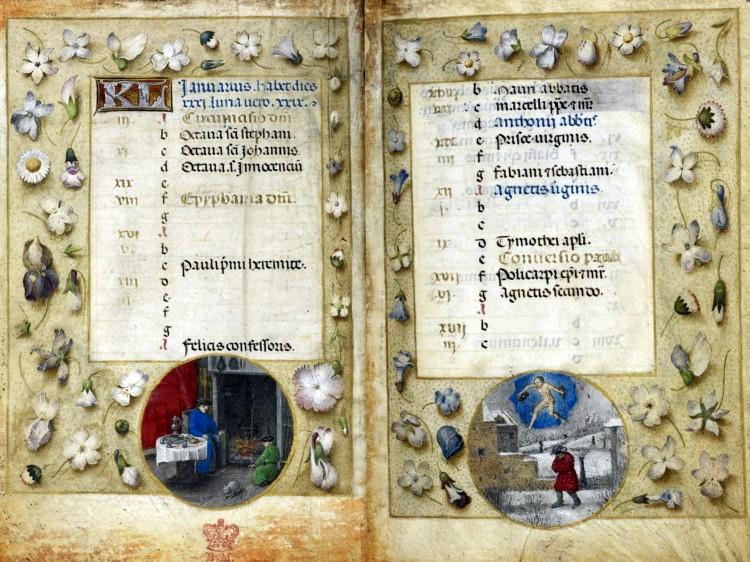 Simon Marmion y taller. Enero, Horas Huth, f1v-f2r. c1480, British Library
